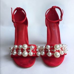 Shoes - Red heels with pearl accents